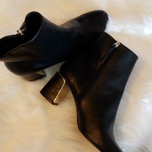 Zara High Heel Ankle Boots with Gold Metal Detail